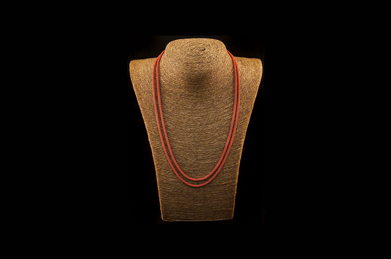 6035NE022 - Burnt Orange String Necklace