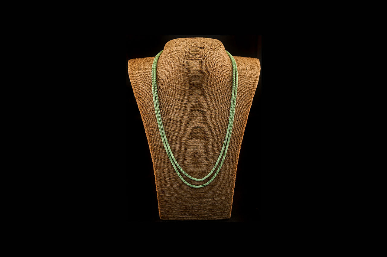 6035NE049 - Soft Green String Necklace