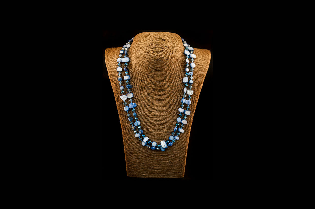 6150NE001 - Ice Blue Stone Necklace