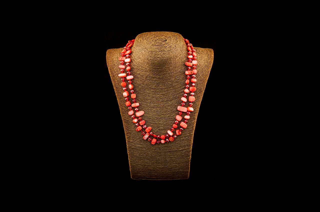 6150NE003 - Red/Orange Stone Necklace
