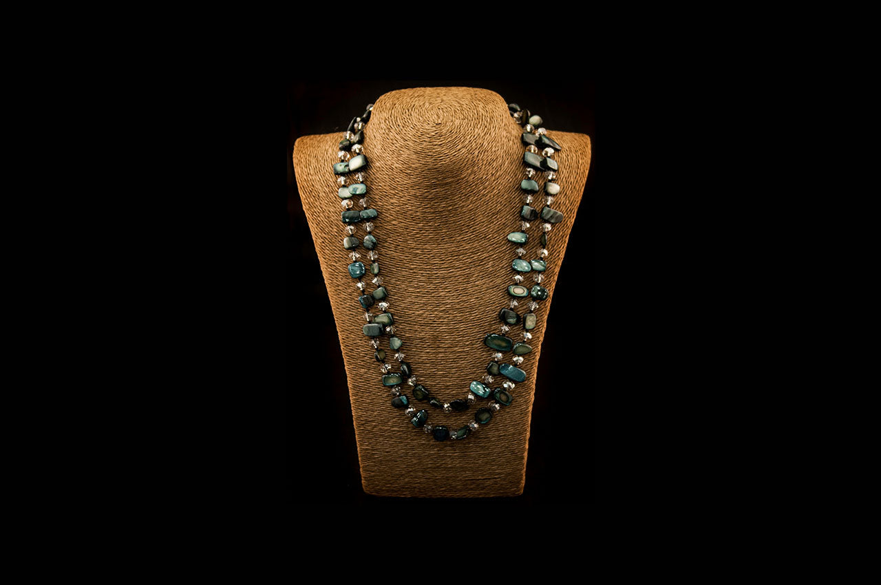 6150NE005 - Charcoal Stone Necklace