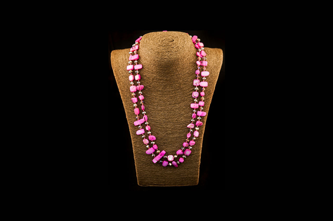 6150NE006 - Pink/Amber Stone Necklace