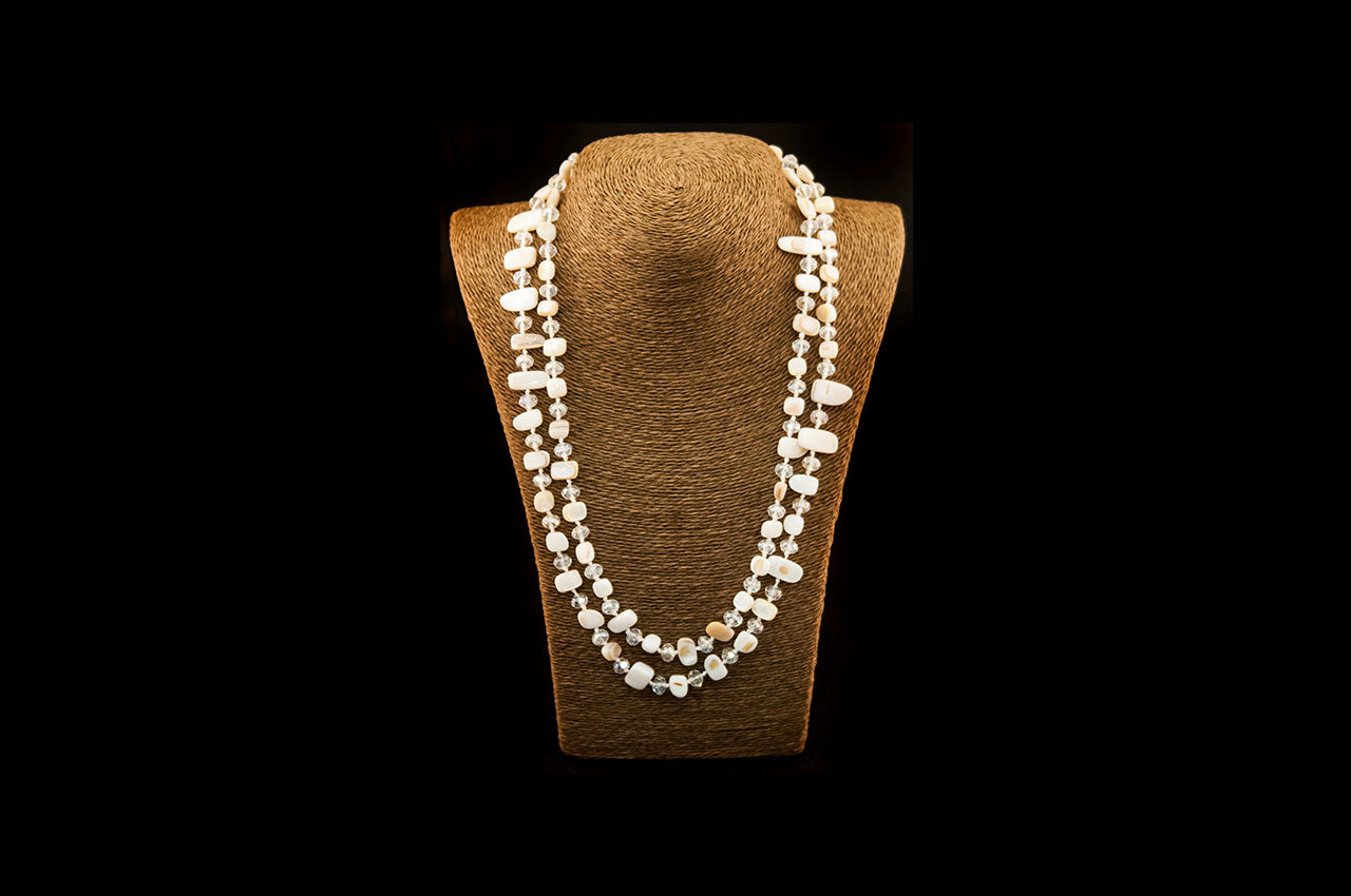 6150NE008 - Cream/Crystal Stone Necklace