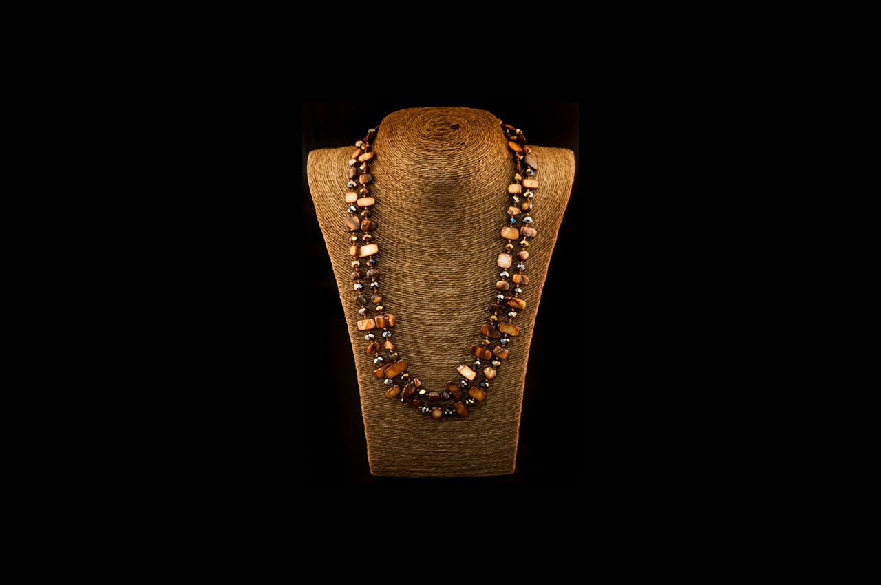 6150NE010 - Brown/Caramel Stone Necklace