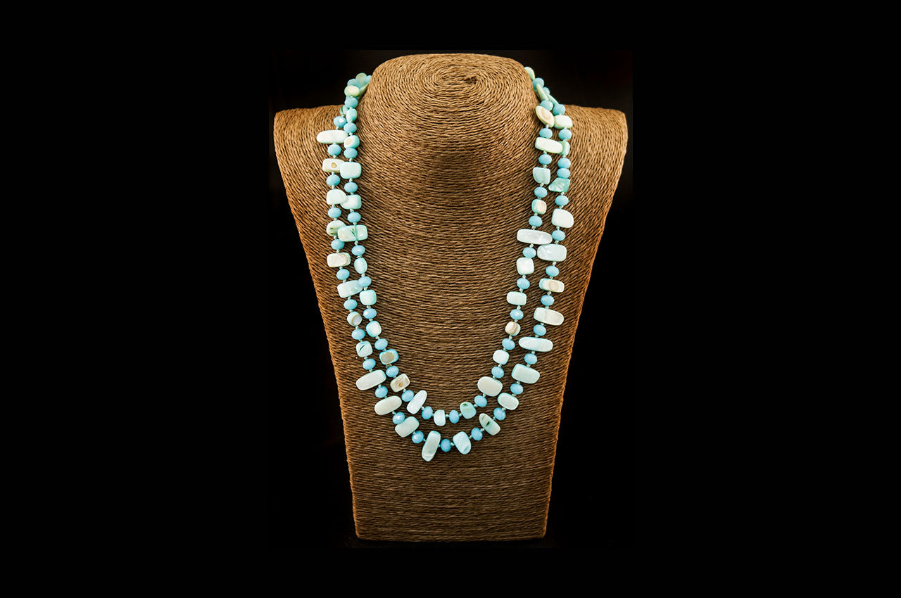 6150NE012 - Aqua Stone Necklace