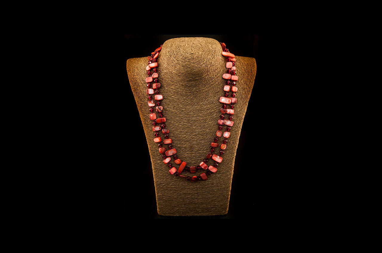 6150NE018 - Red Stone Necklace