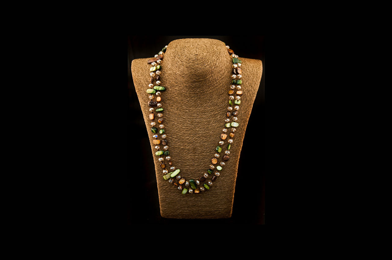 6150NE019 - Green/Umber Stone Necklace