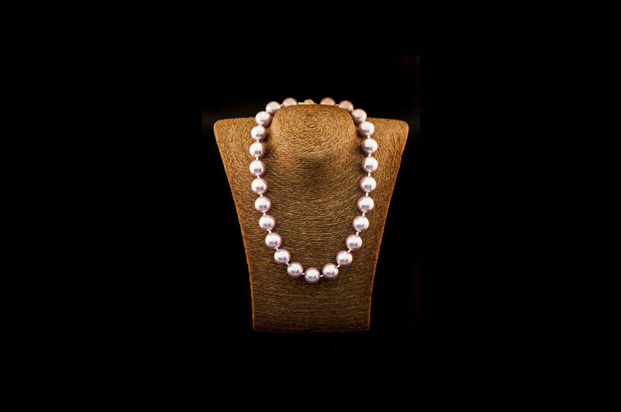 6600NE056 - Dusty Pink Crushed Pearl Necklace
