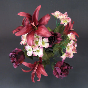 HCFL5851 - Burgundy Rose/Lily Bouquet