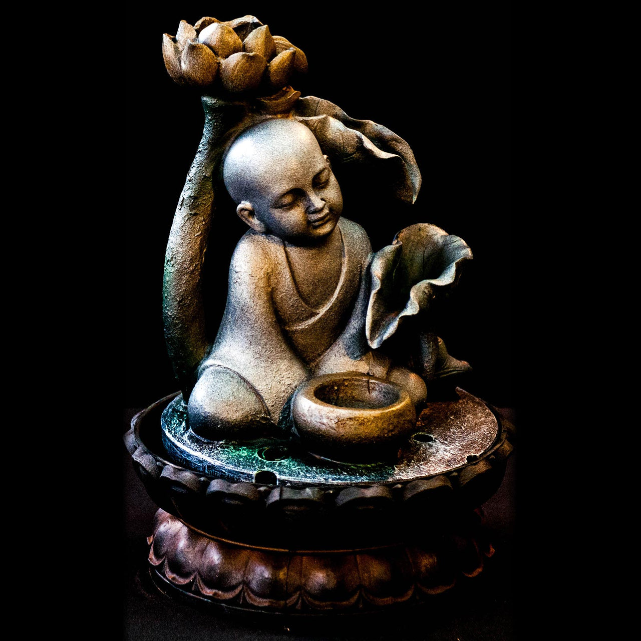 HCFT5419 - Baby Buddha with Lotus on Top Fountain