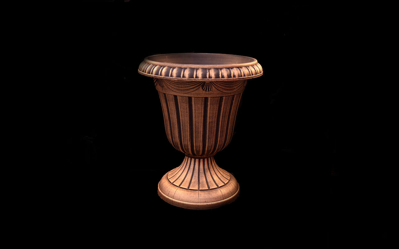 HCHD4661 - Gold Wide Pedestal Pot Large