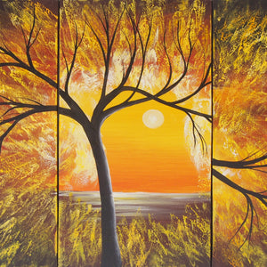 LSTT20474 - Triptych Original Oil Painting