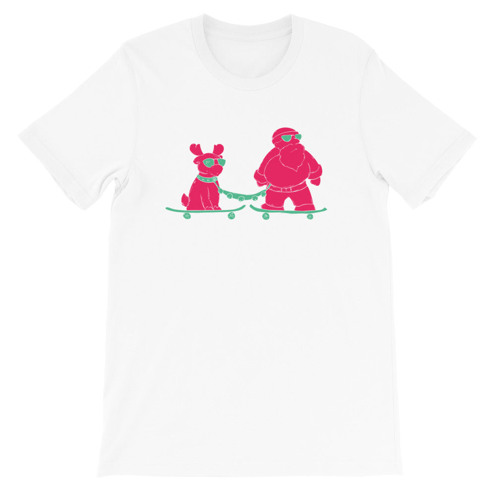 Skatin Santa Chillin with the Homies- Short-Sleeve  T-Shirt