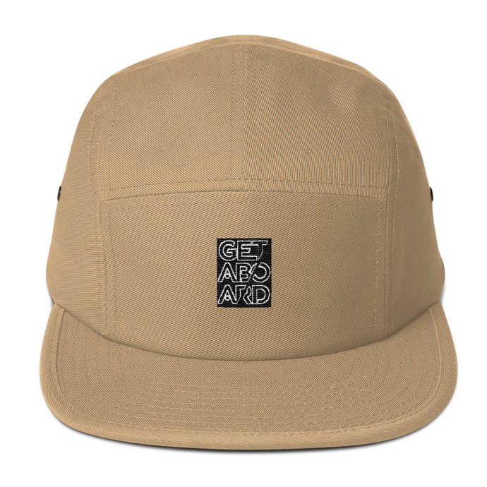 GETABOARD- Five Panel Cap- Stacked Logo