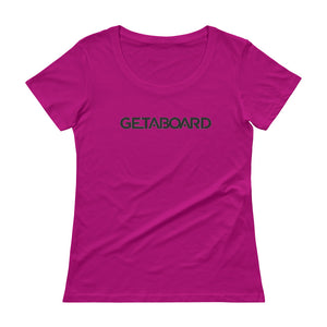 GETABOARD- Ladies' Scoopneck T-Shirt- Font- BLK