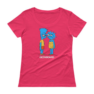 "GETABOARD- Featured Artist: Maressa Roberts-""Brothers & Sisters""- Ladies' Scoopneck T-Shirt- Multicolor"