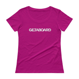 GETABOARD- Ladies' Scoopneck T-Shirt- Font - WHT