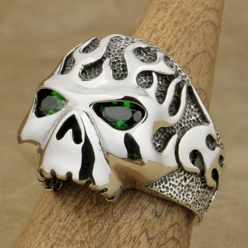 925 Sterling Silver Fire Skull Ring With Green Eyes