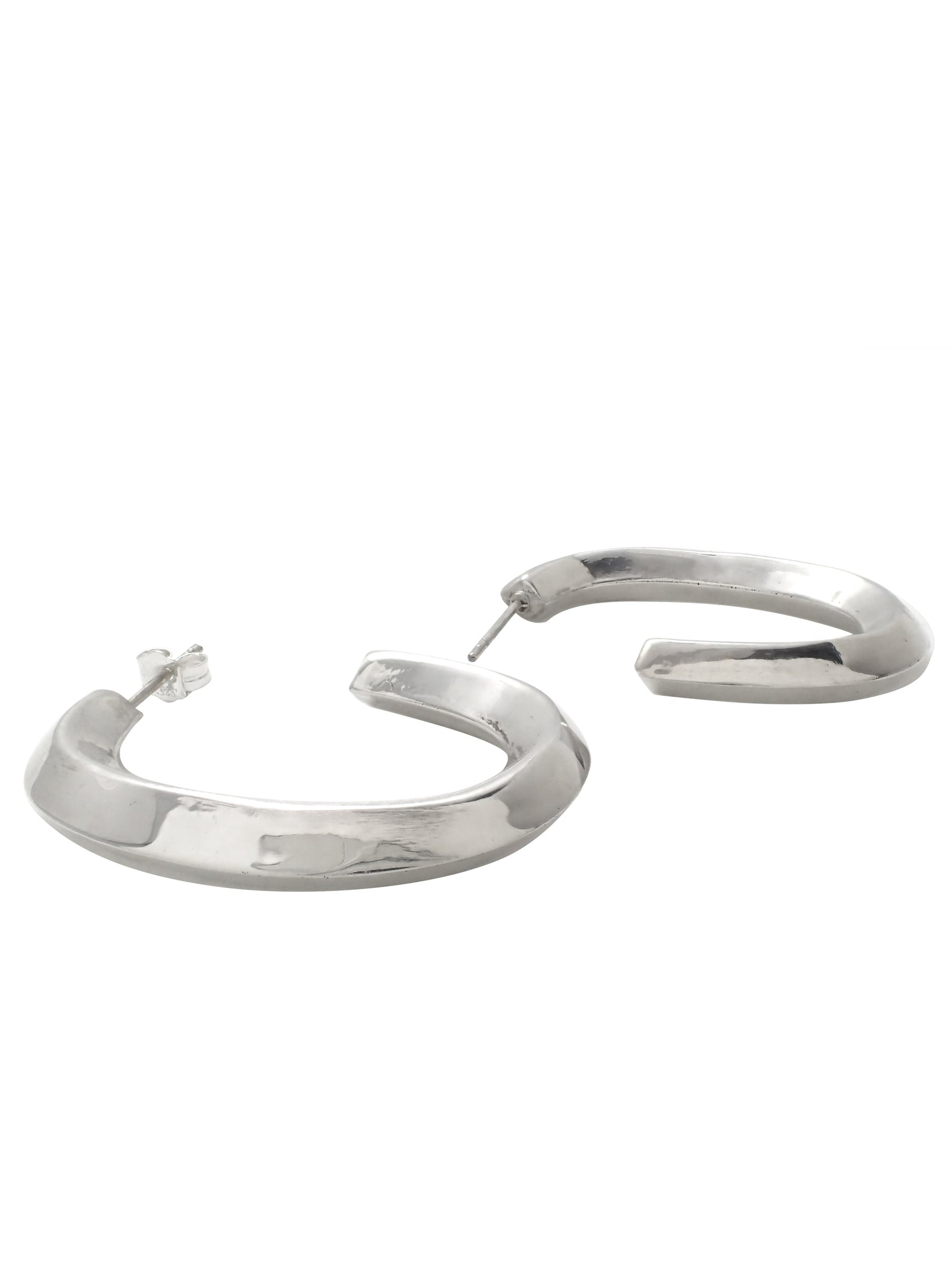 Oblong Square Hoops / Sterling Silver
