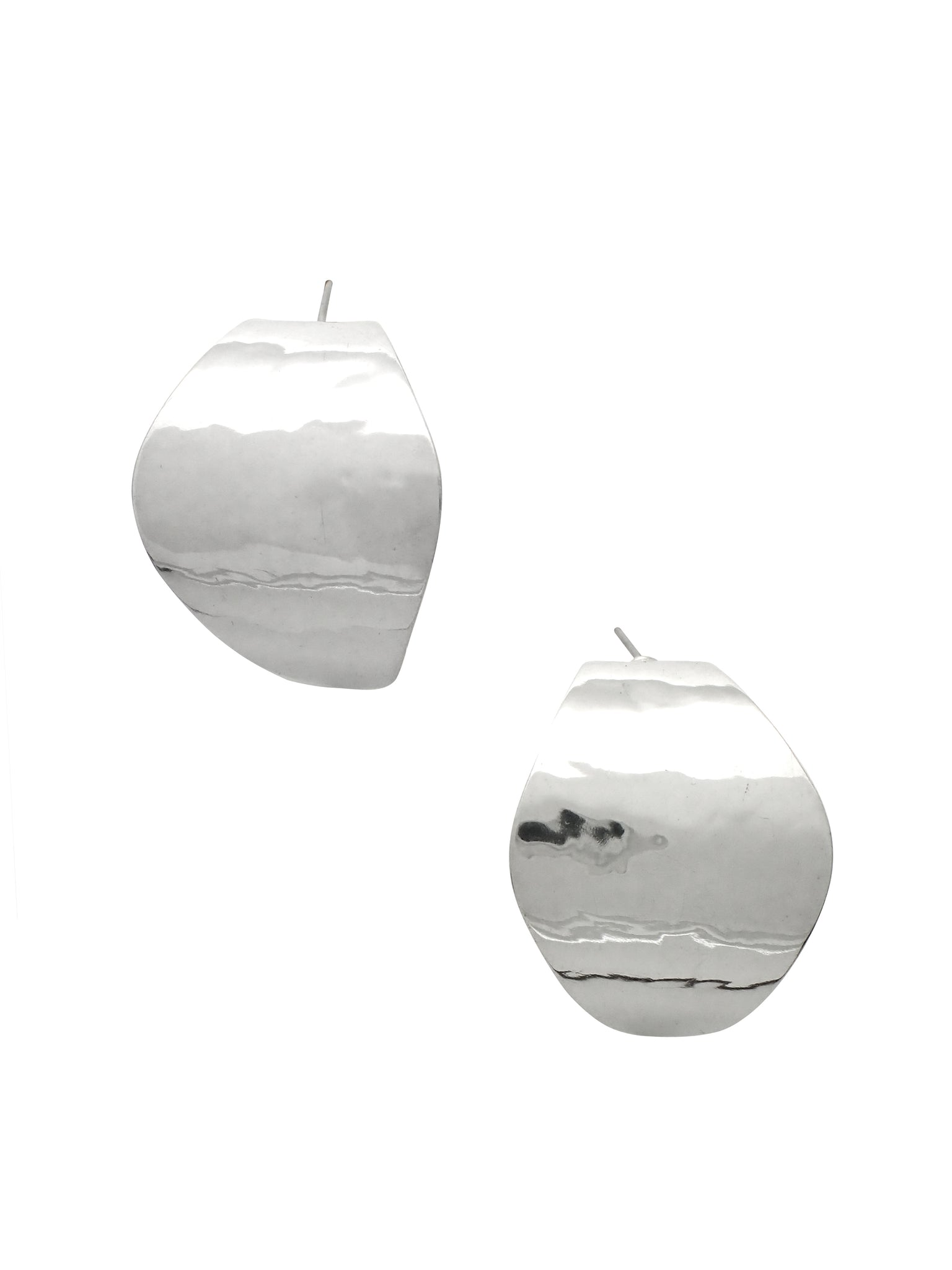 Curved Oval Post Earrings / Sterling Silver
