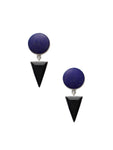Lapis Circle and Onyx Arrow Dangle Earrings / Sterling Silver
