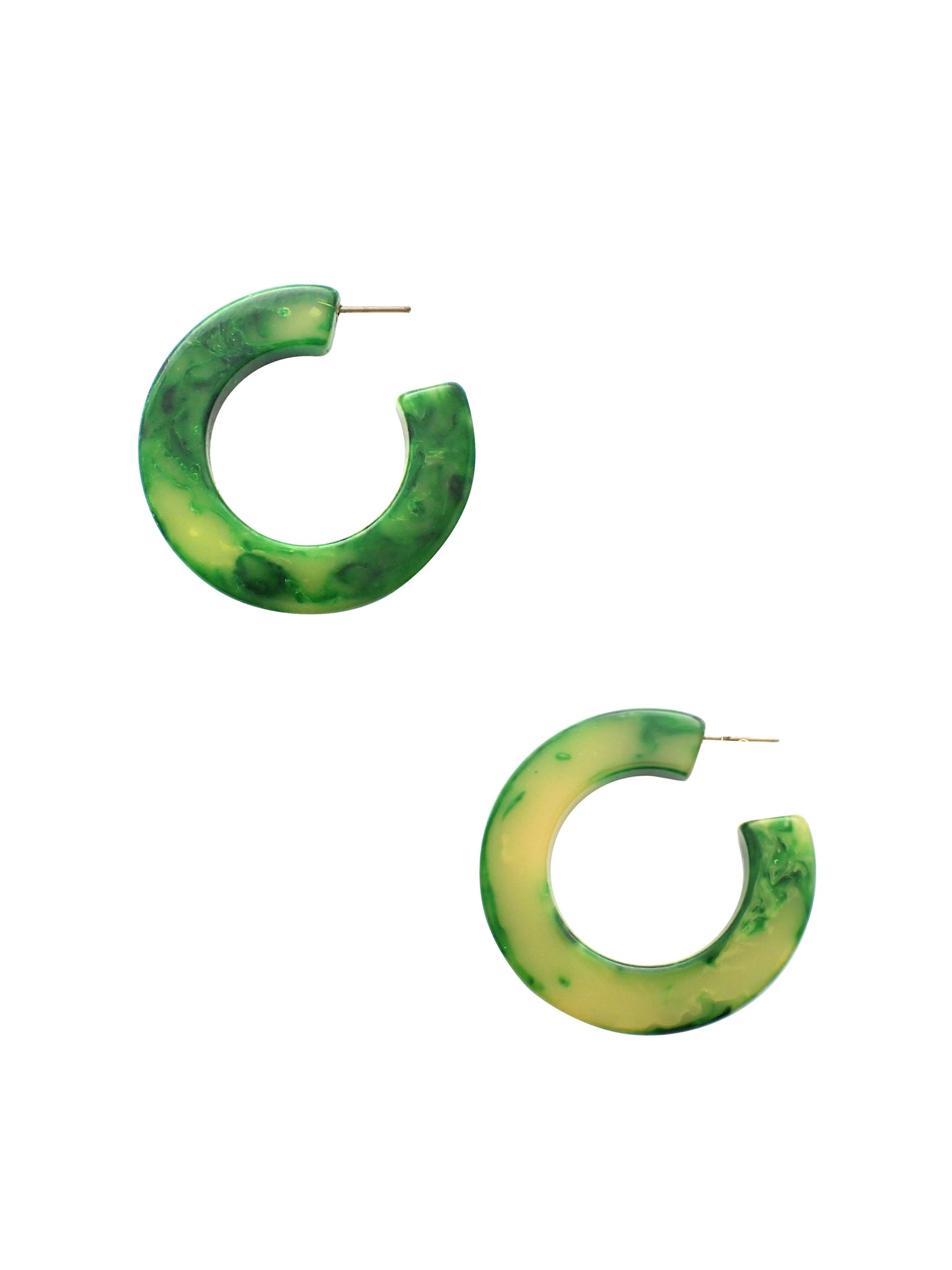 Green Marbled Bakelite Hoops / Bakelite