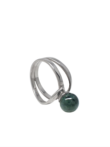 Wrapped Green Agate Ring / Sterling Silver