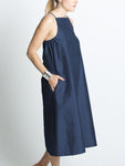 Yard Dress / Navy Dupioni