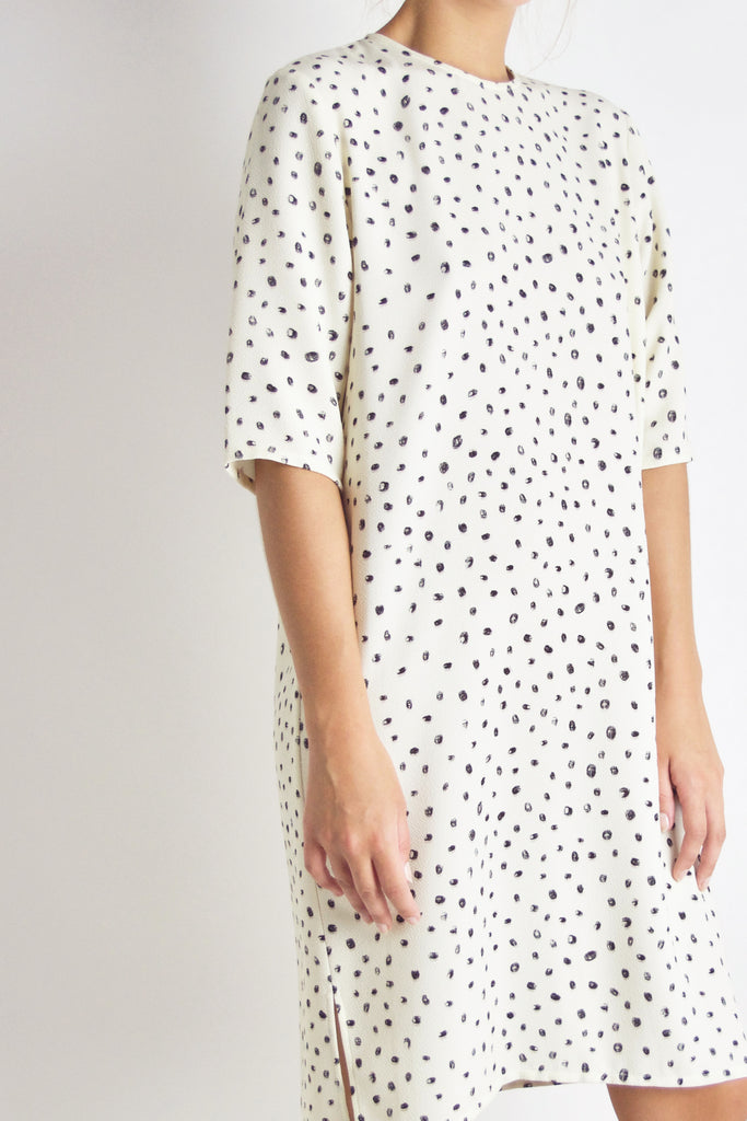 Park Dress / Off White Dot Crepe