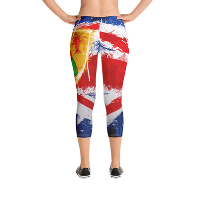 Painted Flag Capri Leggings