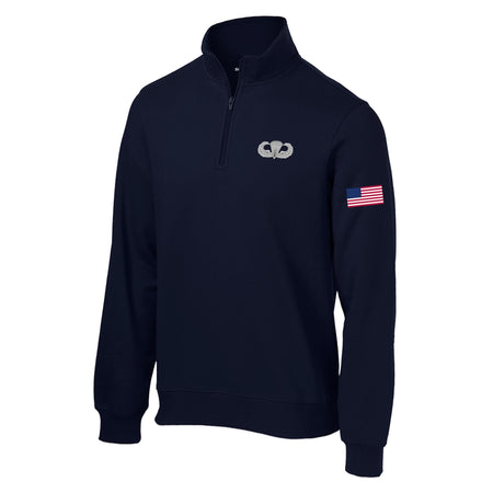 Airborne Jump Wings 1/4 Zip Sweatshirt