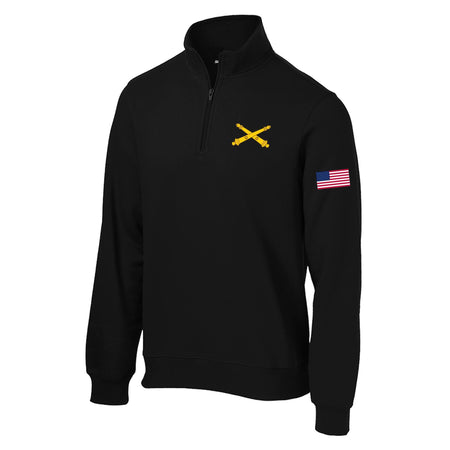 Field Artillery Crossed Cannons 1/4 Zip Sweatshirt