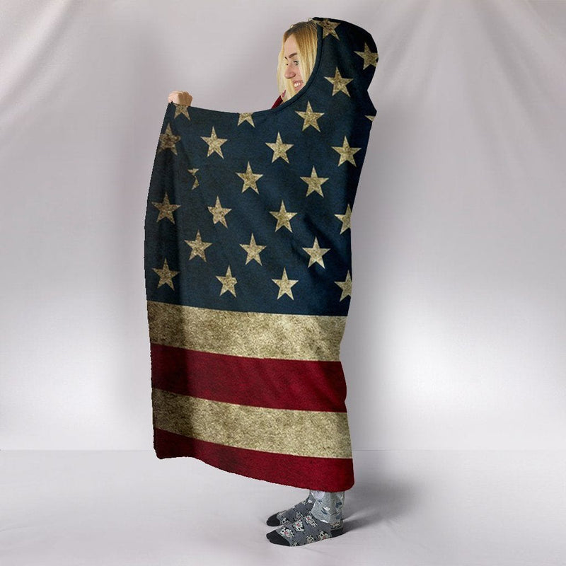 American Flag Hooded Fleece Blanket