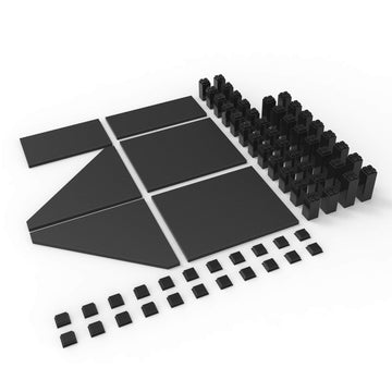 Modular shelving system.  Adaptable & Customizable magnetic ABS shelving system. Sky Shelves Magnetize Me Black 6 pack starter kit, 6 boards, 40 legs and 22 shoes