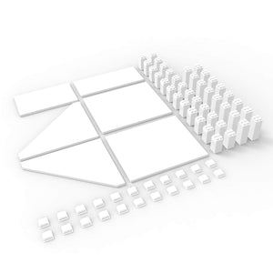 Modular shelving system.  Adaptable & Customizable magnetic ABS shelving system. Sky Shelves Magnetize Me White 6 pack starter kit, 6 boards, 40 legs and 22 shoes