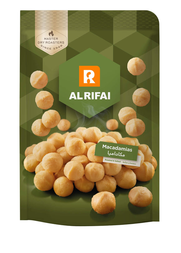 AL RIFAI Macadamia Salted Dry Roasted Prepack the best lebanese nuts and kernels