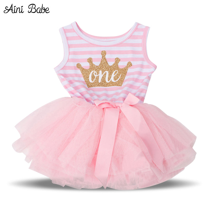 Aini Babe Summer 2017 Baby Girls Baptism Clothes Tutu Dress Gold Crown One  Two Little Girl b149d1749d5