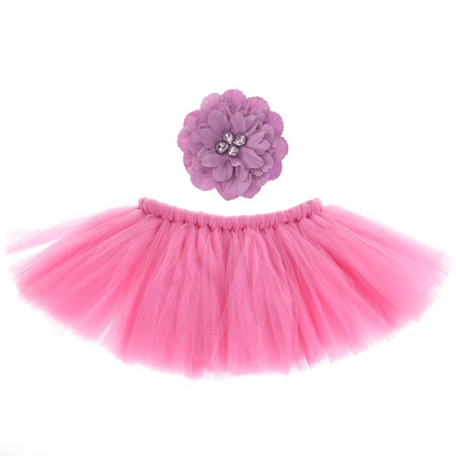 Infant Baby Newborn Photography Props Costume Photo For Accessories Pink Tutu Skirts Set