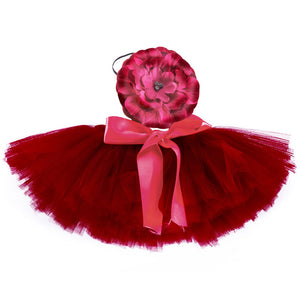 Newborn Photography Props Red Baby Photo Tulle Tutu Skirt Bowknot For 0 4