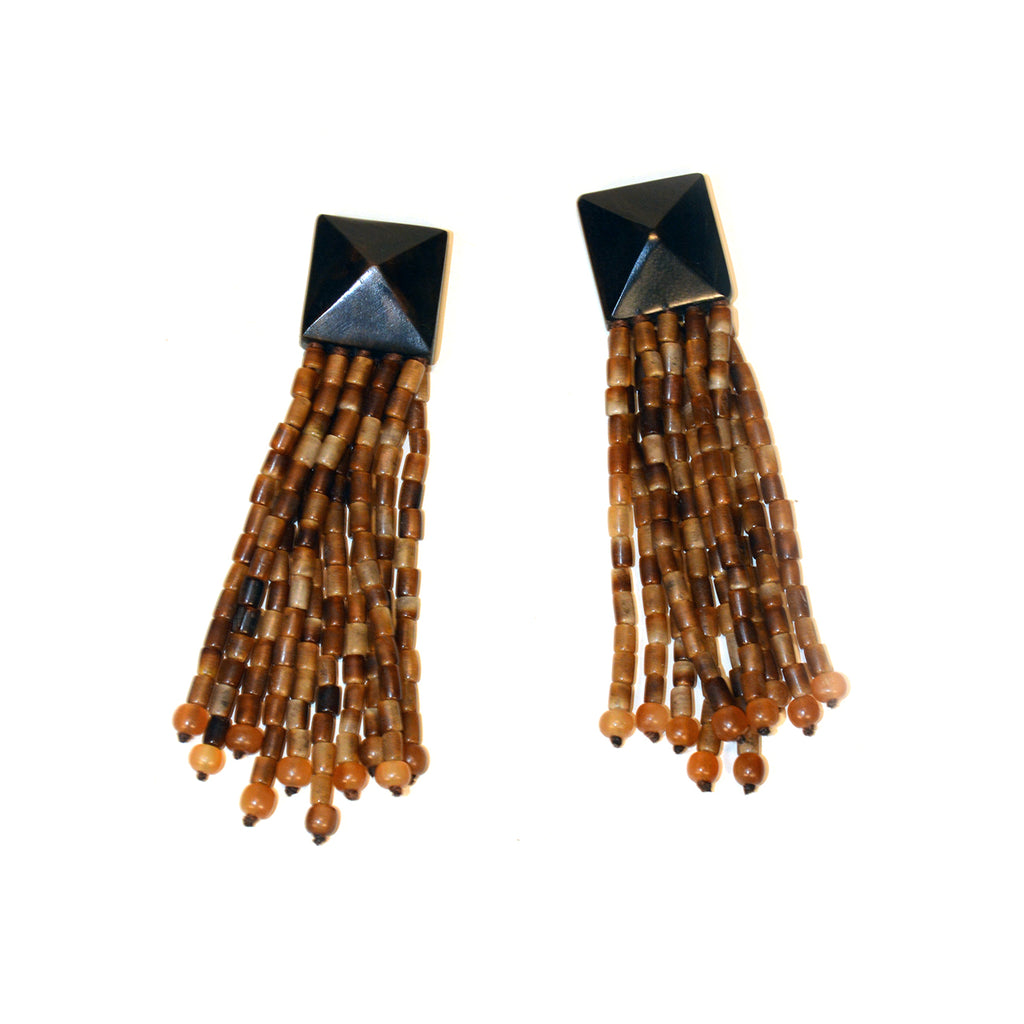 Brown Horn Tassel Earrings