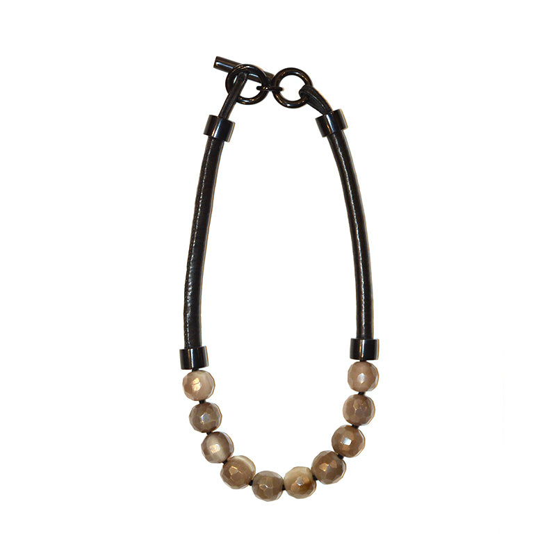 Faceted Horn and Leather Necklace