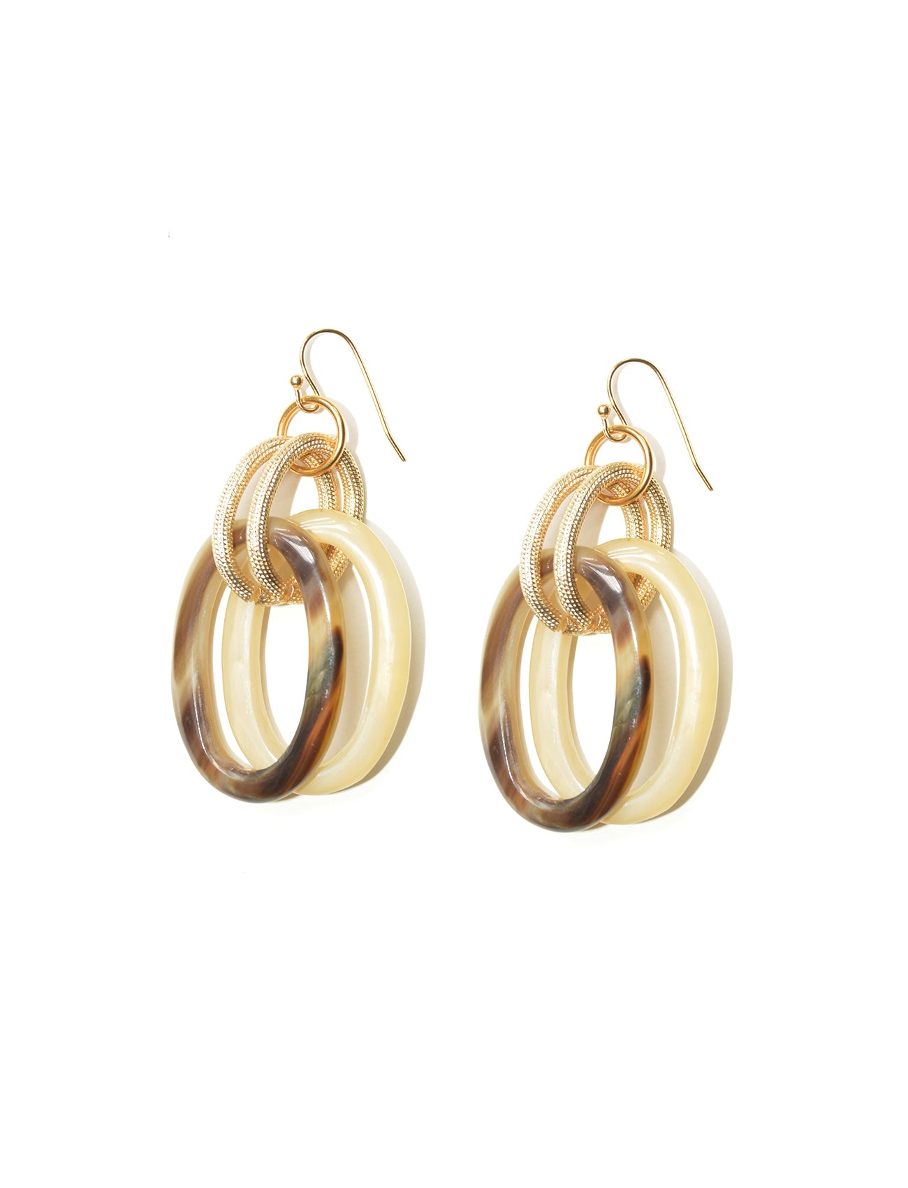 Horn and Gold Earrings