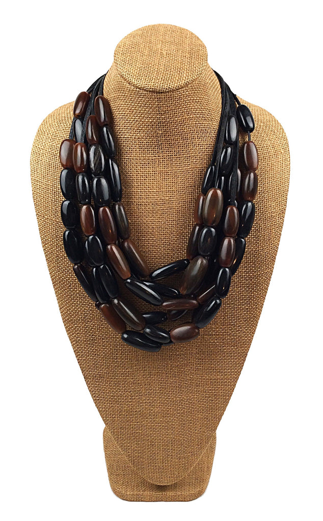 Black and Brown Horn Multi-Strand Necklace