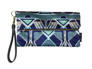 Francis Navy Stripe - Velvet Clutch Bag