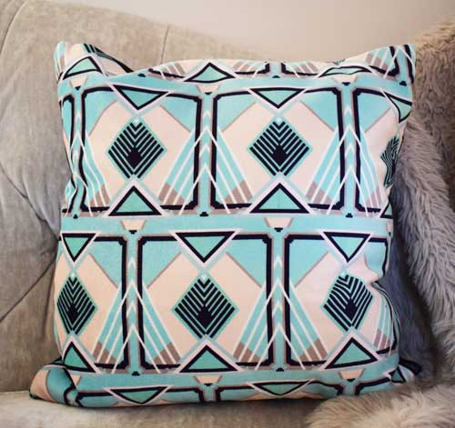Francis Tile Square Velvet Cushion - Mint