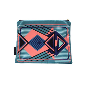 Francis Teal Large Velvet Pouch
