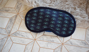 Navy Fan Silk Eye Mask