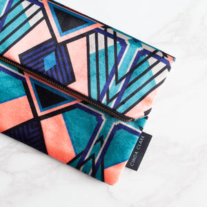 Francis Black/Coral - Velvet Clutch Bag