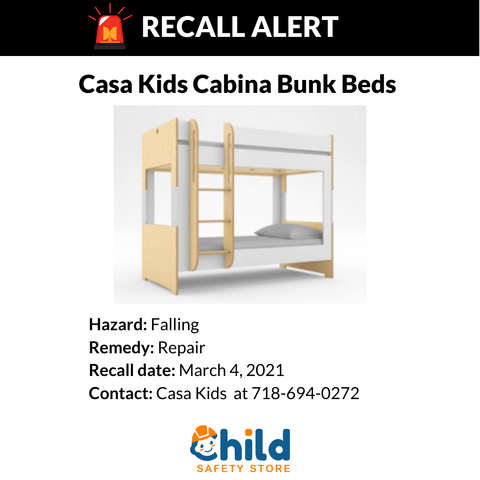 Recall for Casa Kids Cabina Bunk Bed