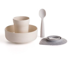 "Recalled Miniware ""Sip + Snack"" travel set with teething spoon in grey"